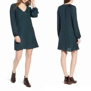Hinge Green long sleeve shirt dress Medium NWT
